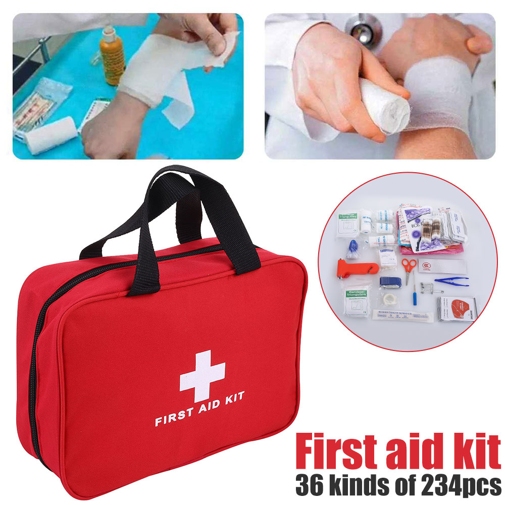 234pc First Aid Kit Bag All Purpose Emergency Survival Home Car Medical Bag Comes With 35 Different All-purpose Trauma Supplies