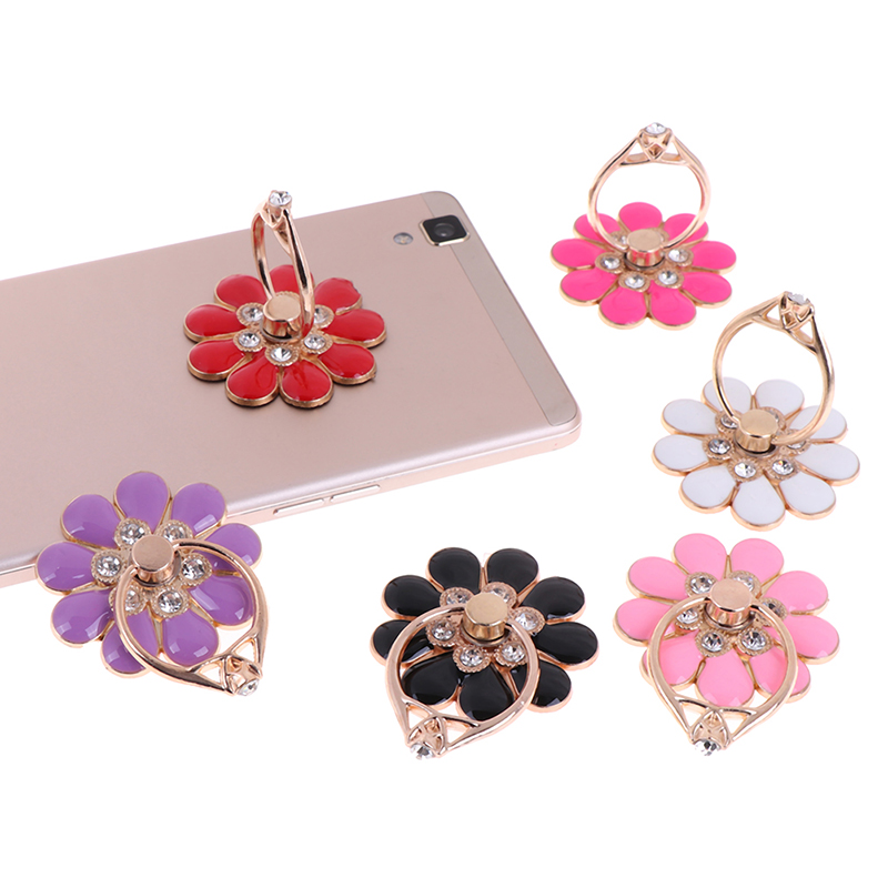 Reusable Mobile Phone Holder Flower Finger Ring Smartphone Colorful Metal Stand Holder Phone Holder Stand For All Phone