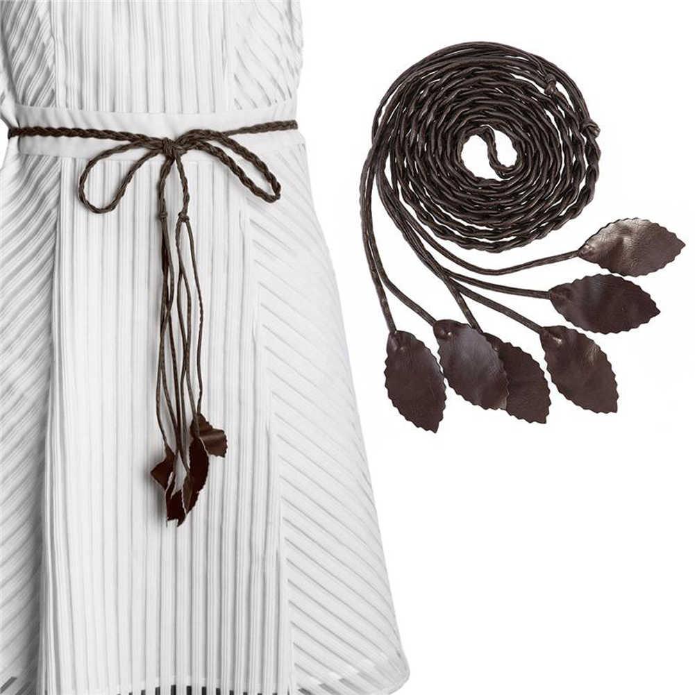 אופנה נשים מוצק צבע קלוע עלה חגורת 2020 חדש Boho בנות דק מותניים חבל לסרוג חגורות מותני שמלה אביזרים