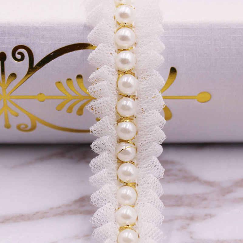 2cm branco preto algodão pérola frisado bordado tecido laço guarnição fita artesanal diy costura suprimentos artesanato decoração