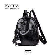 ISXTW Double Zipper Backpack Women's PU Leather Bag Teenage Girl Travel Bag Designer Female Backpack Soft Laptop Backpack / C3 drawstring bow double zipper backpack
