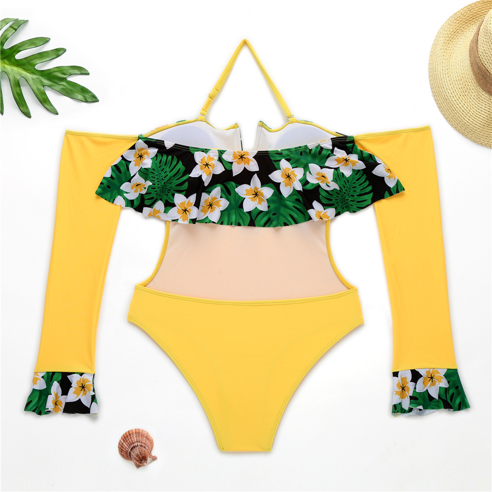 ╖Closeout DealsOne-Piece Swimsuit Long-Sleeve Floral Off-Shoulder Women for Wired Tropical