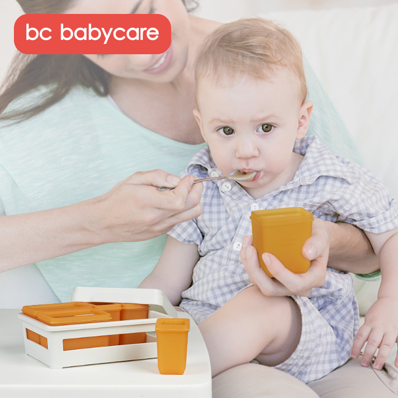 BC Babycare 6Pcs Silicone Baby Food Storage Containers Infant Fruit Breast Milk Storage Box Ice Cube Mold Freezer Tray Crisper