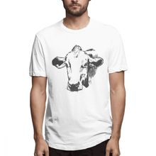 Blue T shirt Cow Out Mens Short Sleeve T-shirt Overside Tee 100 Cotton print tshirt