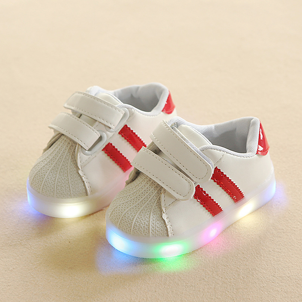 Lovely Kids LED Shoes Casual Sport Running Shoes Children Luminous Shoes Boys Girls Stripe Baby Non-Slip Soft Rubber Sneakers