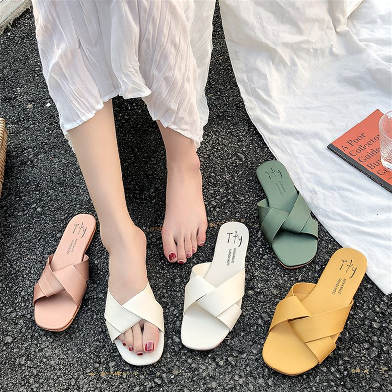 Women Slipper Round Toe Green Yellow Colors  Summer Beach Slides Flip Flops Outdoor casual sewing Shoes Woman Solid Slides 5