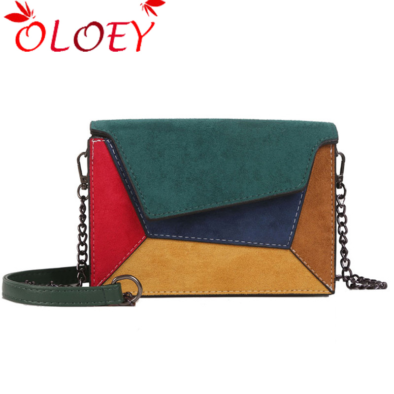 2019 Fashion Quality Leather Patchwork Women Messenger Bag Woman Chain Strap Shoulder Bag Small Crossed Ladies Bag Flap Hot Sale