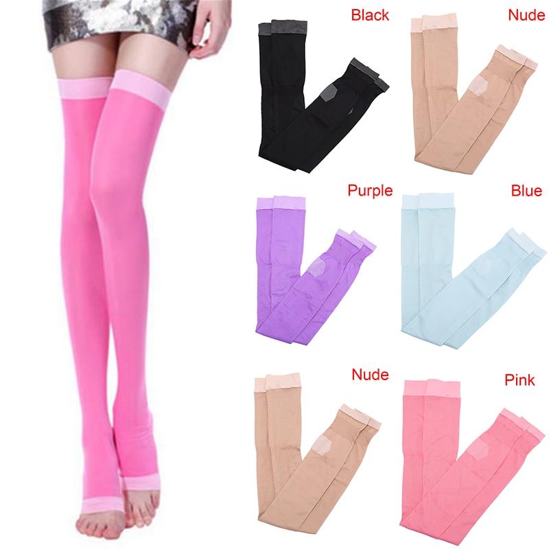 1 çift yeni varisli damarlar sıkıştırma yanık yağ ince süper gece uyku zayıflama çorap bayan güzellik bacak ince Legging