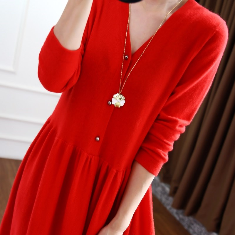 Image 4 - BELIARST 2019 autumn and winter new V neck cashmere dress female  temperament long paragraph over the knee big dress long skirtDresses