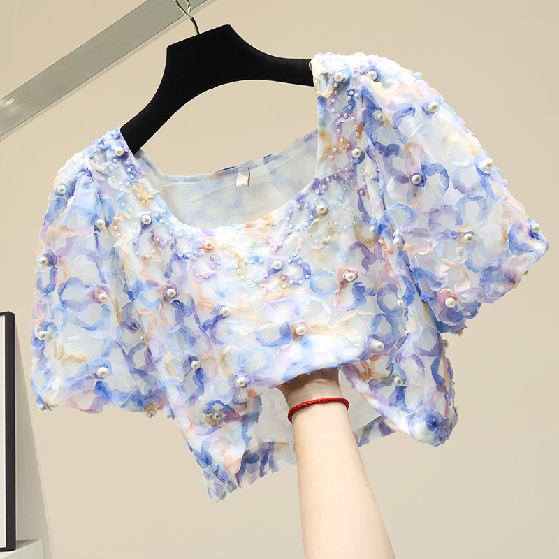 Short Beaded Slim Chiffon Shirt Women Summer Short-Sleeved Top Shirt Women Short Blouse Beach Holiday Shirts Girls Tops Blusas