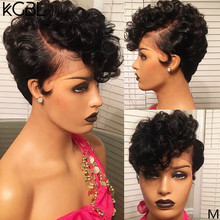 KGBL 13*4Pixie Cut Curly Lace Front Human Hair Wigs With Baby Hair 6-8''Brazilian Non-Remy150%180%Density Medium Ratio For Womam(China)