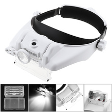 14.5X Headband Eyeglass Magnifier 15 Amplification Ratio Magnifying Glass Interchangeable Lens with 3 LED Light and 6 Lenses