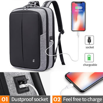 Bange Anti Theft Men Business 15.6 inch Laptop Backpacks Waterproof  External USB Charge Backpack School Fashion Travel Rucksack
