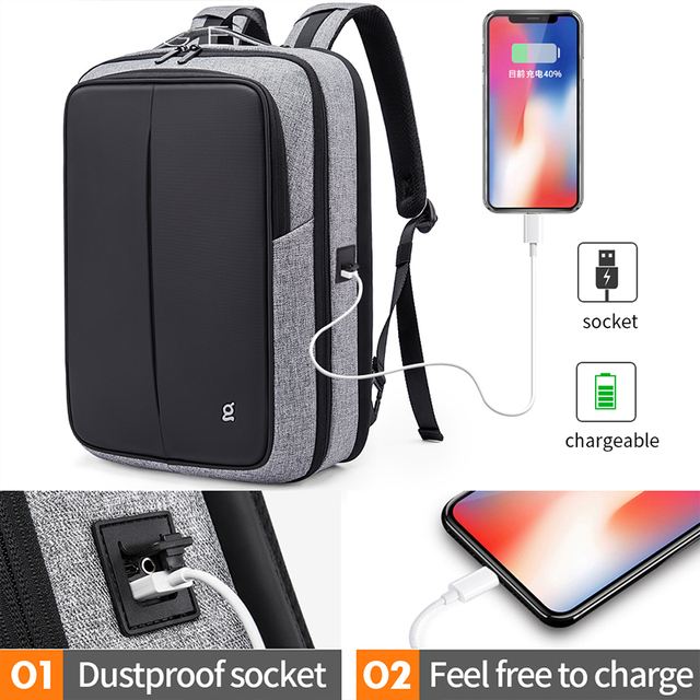 Bange Anti Theft Men Business 15.6 inch Laptop Backpacks Waterproof  External USB Charge Backpack School Fashion Travel Rucksack
