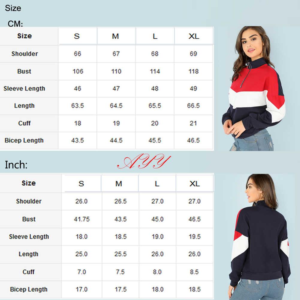 Hirigin ผู้หญิงฤดูใบไม้ร่วงลำลองแขนยาว Zip Up เสื้อคอเต่า Patchwork Crop Tops Pullover เสื้อนักเรียนกีฬา Runing สวมใส่