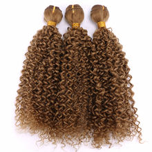 Hair-Bundles Curly Weave Synthetic-Hair-Extensions Afro Golden Color for Black-Women