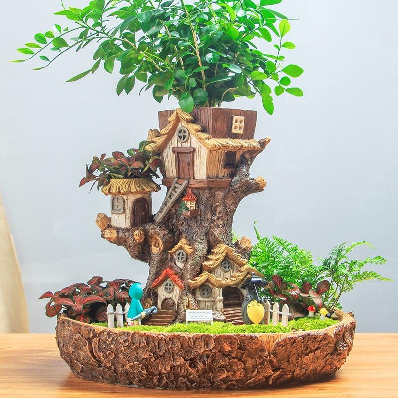 Modern Fairy Garden Pot Miniature Stump Resin Flower Pot Cartoon Treehouse Sculpture Succulent Planter Balcony Plant Flowerpot