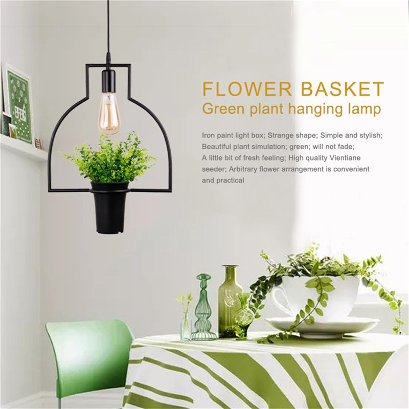 Black Flower Basket Green Plant Hanging Lamp Retro Industrial Style Creative Personality Chandelier Clothing Shop Cafe Restauran