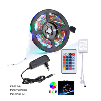 5M LED Strip Light RGB SMD 2835 Not waterproof Flexible Ribbon Fita Lamp Strip RGB 5M Tape Diode DC 12V+ Remote Control +EU Adap image