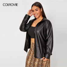 COLROVIE Plus Button Front Belted PU Leather Jacket Women 20