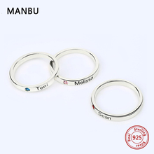 MANBU Personalized customization S925 sterling silver Engraved name and birthstone Rings fashion Jewelry rings for women gift