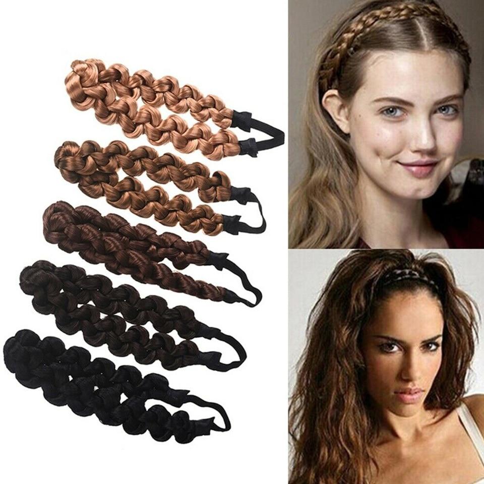 3 Pcs Women Plaited Synthetic Hair Braid Scrunchie Ponytail Holder Headband