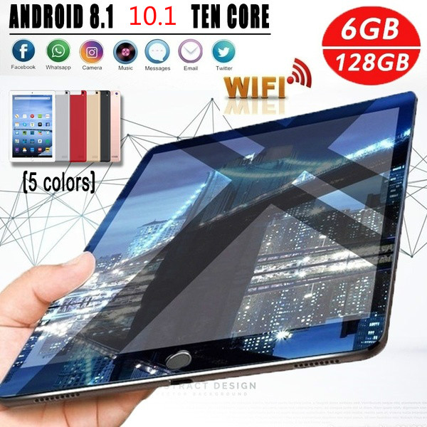 New WiFi Tablet PC 10.1 Inch 6G+128GB Ten Core 4G Network Android 8.1 1280*800 IPS Screen Dual SIM Dual Camera Rear 5.0 MP