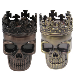 3 Layers Skull Metal Portable Herb Tobacco Spice Smoking Grinder Hand Crank Crusher Hookah Smoking Accessories
