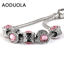 3 Pcs a Lot Silver-Color Pink Crystal Beads for Jewelry Making Rhinestone European DIY Bead Fit For Pandora Charms Bracelets