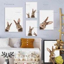 Детские животные кролик холст постер детская Настенная картина