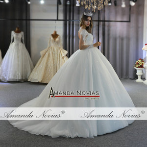 Image 4 - robe de mariee full beading long sleeves wedding dress puffy ball gown bride dress 2020