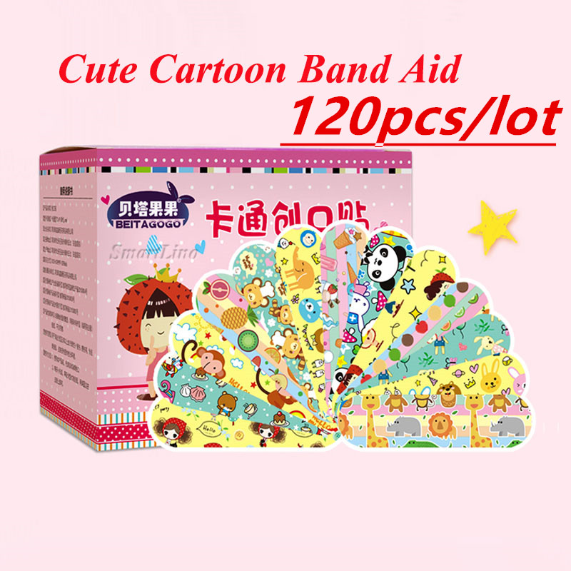 120PCS Band Aid Cartoon Bandage Waterproof Wound Adhesive Bandages Cute Breathable First Aid Medical Treatment For Children
