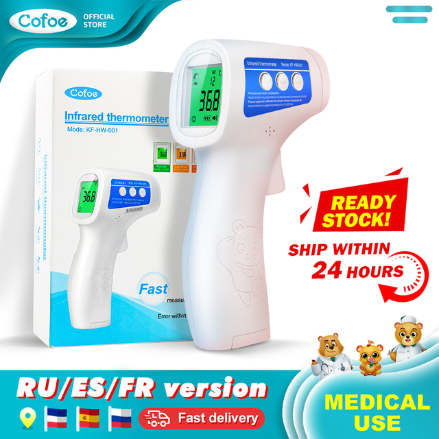 Cofoe Forehead Digital Thermometer Non Contact Infrared Medical Thermometer Body Temperature Fever Measure Tool for Baby Adults