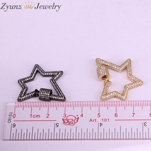 Image 5 - 3PCS, Star Jewelry Clasps Lock Carabiner Micro Pave CZ Copper Connector Clasp For Necklace Jewelry Making