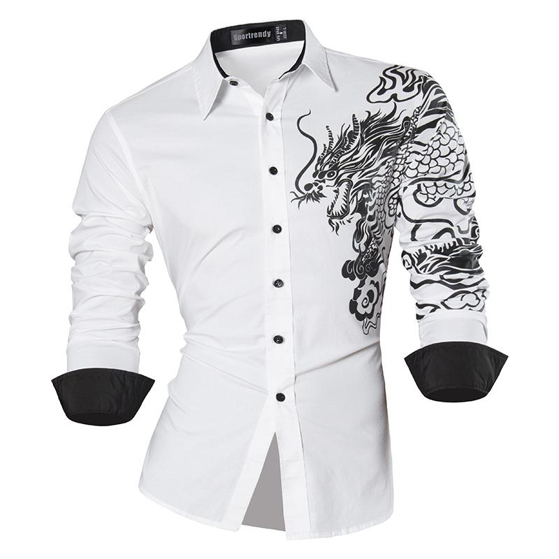 Sportrendy Men 39 s Shirt Dress Casual Long Sleeve Slim Fit Fashion Dragon Stylish JZS041 White in Casual Shirts from Men 39 s Clothing