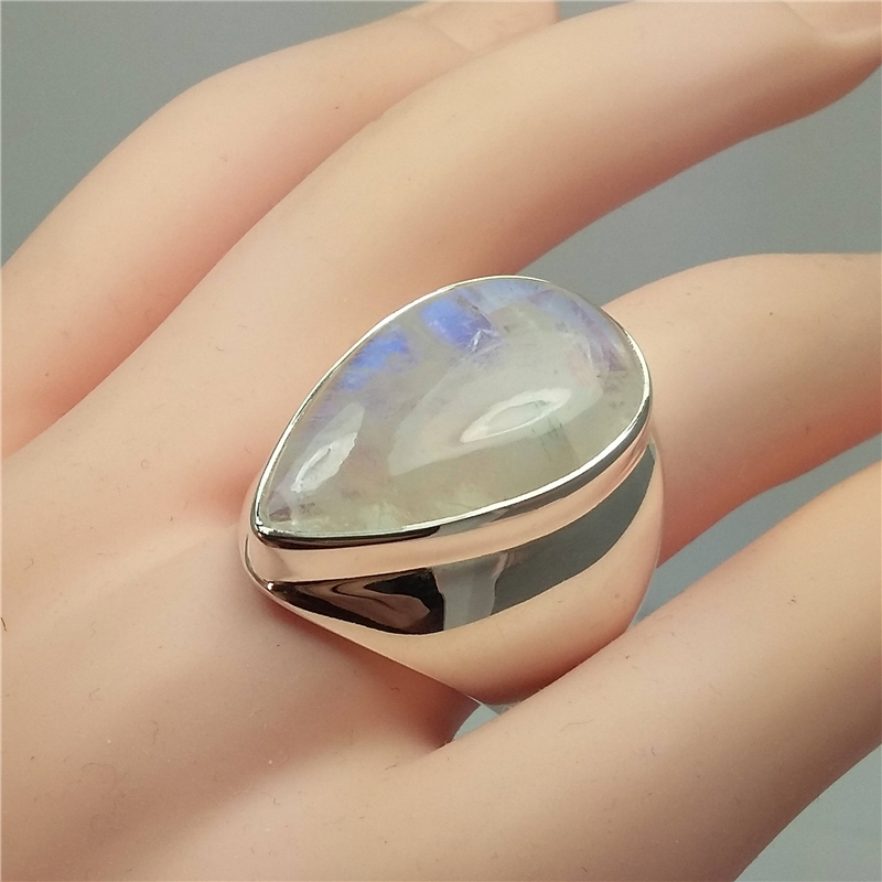 Vintage S925 Silver Color Moonlight Diamond Ring Punk Wind Exaggerated Bizuteria Topaz Gemstone Silver S925 Jewelry Ring Box
