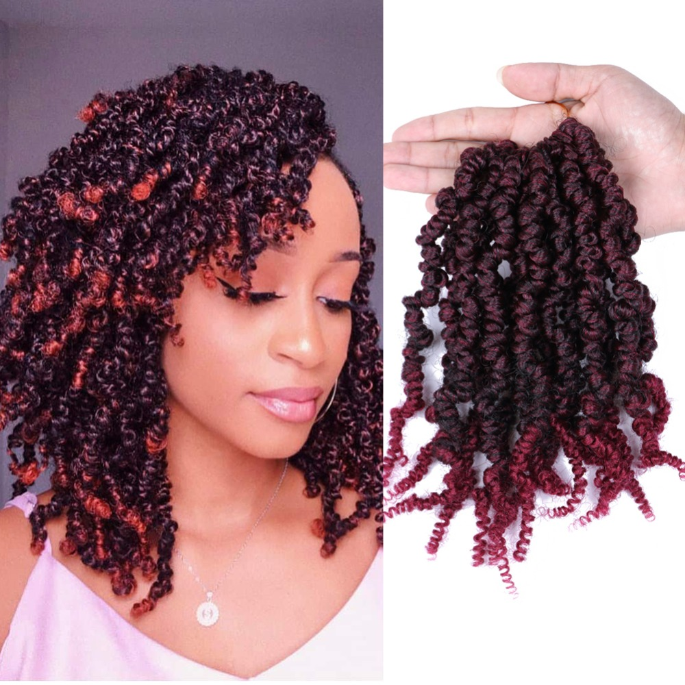Mtmei Hair Pre-twisted Spring Twist Hair 10 Inch 15Strands Passion Twist Crochet Hair Black Brown Burgundy Ombre Braiding Hair