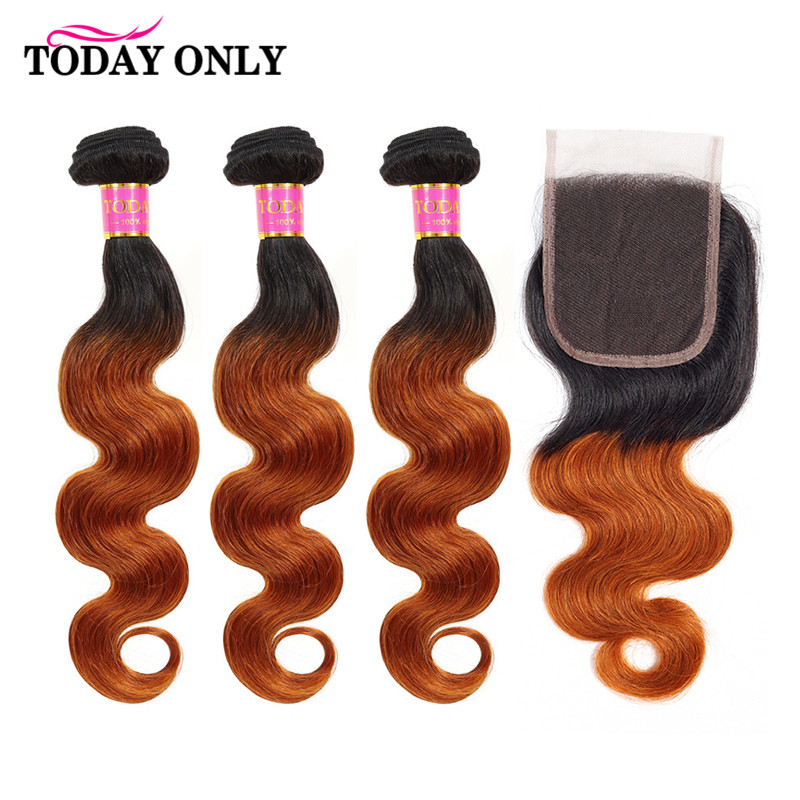 TODAY ONLY Peruvian Hair Bundles With Closure Ombre Body Wave Bundles With Closure Remy Human Hair Bundles With Closure 1b 30-in 3/4 Bundles with Closure from Hair Extensions & Wigs    1