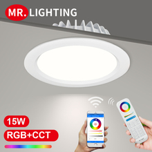 Miboxer living room 15W RGB + CCT LED downlight FUT069 round AC 100V-240V dimmable wireless wifi control LED ceiling downlight