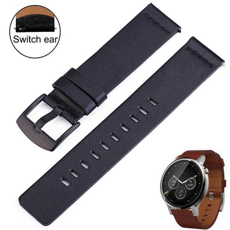 Pasek do zegarka z prawdziwej skóry w stylu casual, z paskiem do inteligentnego zegarka tłusta powierzchnia Samsung przekładnia galaxy S3 paski Quick Release 18 20 22 24mm