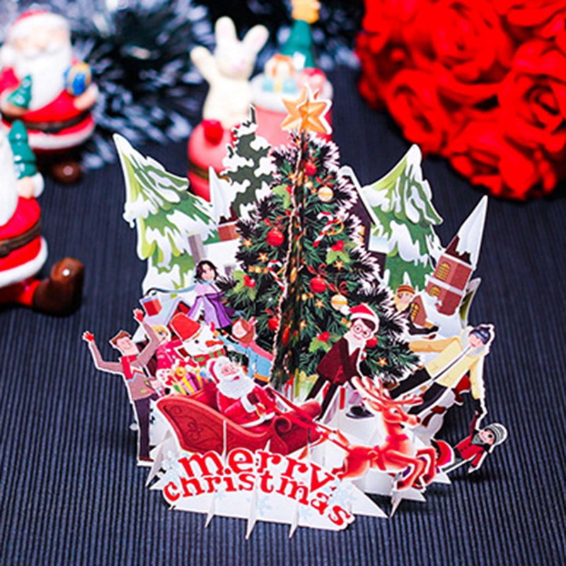 3D Pop UP Merry Christmas Card Santa Claus Tree Xmas Decoration Best Wish Winter Gift Laser Cut New Year Reindeer Greeting Card