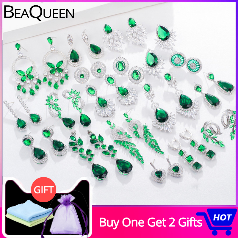 BeaQueen Classic Big Water Drop Green Crystal Long Hanging Earrings Oval Round Heart Cubic Zirconia Women Wedding Jewelry E292