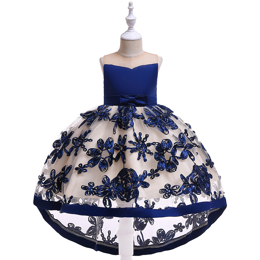 3-8T Cute Lace   Flower     Girl     Dress   Fashion Embroidered Tulle Floor Length   Flower     Girl     Dresses