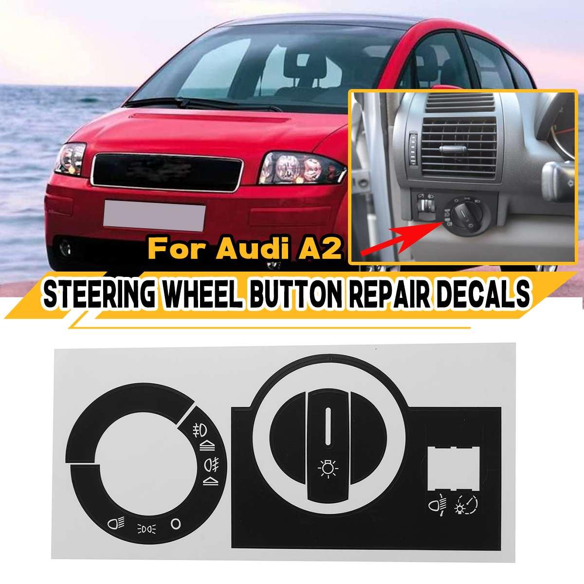 Новые матовые черные наклейки для ремонта переключателя передней фары автомобиля наклейки для Audi A2 ремонтные наклейки уродливые кнопки ав...