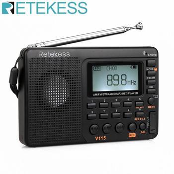 RETEKESS V115 Radio AM FM SW Pocket Radio Receiver Shortwave FM speaker Transistor Receiver TF Card USB REC Recorder Sleep Time цена 2017