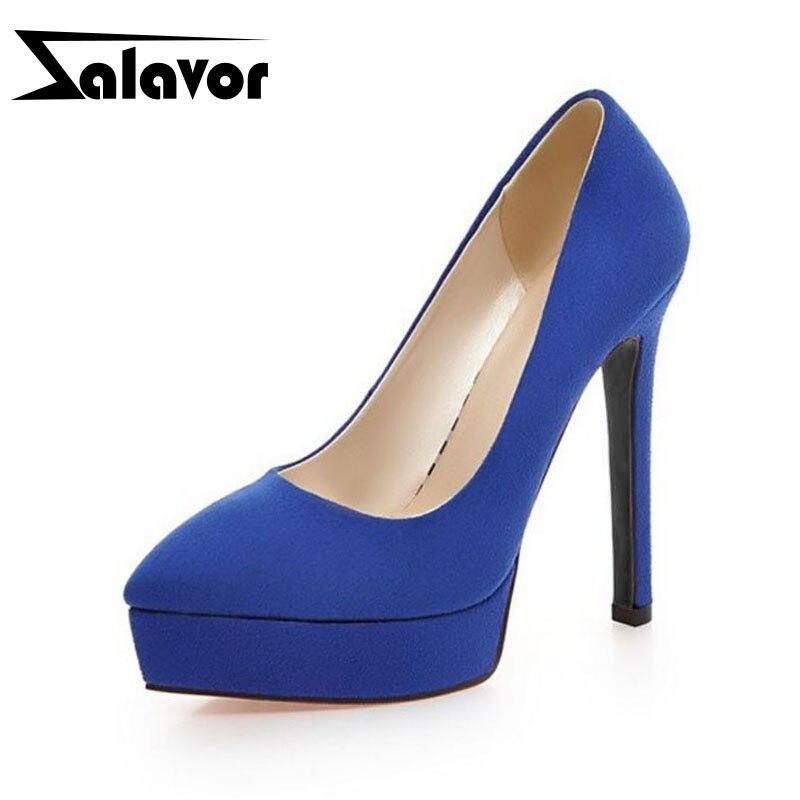 ZALAVOR Pointed Toe Platform Women Pumps Solid Color Slip On Thin Heels Shoes Fashion Party Wedding Women Footwear Size 32-43