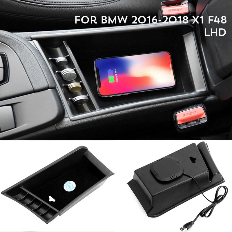 For 2016-2018 BMW X1 F48 Mobile Phone Wireless Charging Central Armrest Storage Box For BMW 520 525 528 530 F18 LHD 2014-2017
