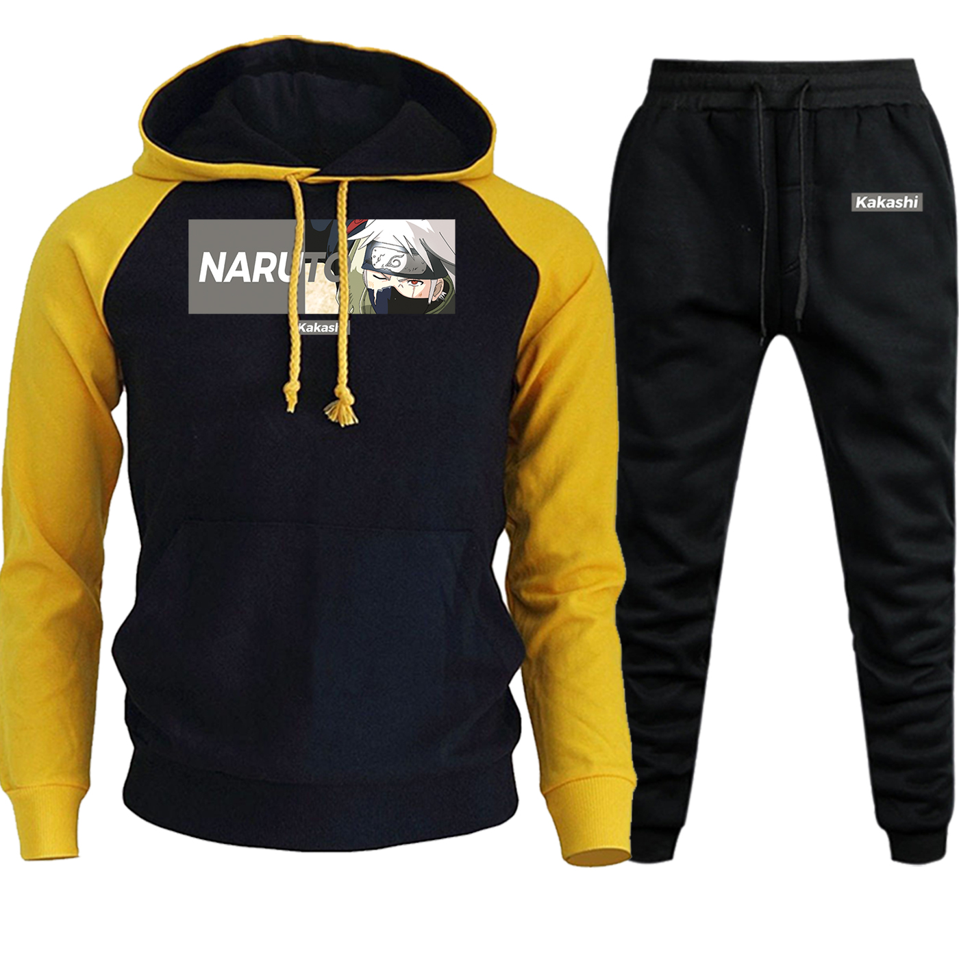 Naruto Kakashi Cartoon Printed Hoodies Men Ragan 2019 Autumn Winter Streetwear+Pants Sets Anime Harajuku Fleece Suit Male Hooded