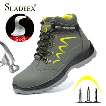 SUADEEX Safety Work Boots For Men Waterproof Security Ankle Shoes
