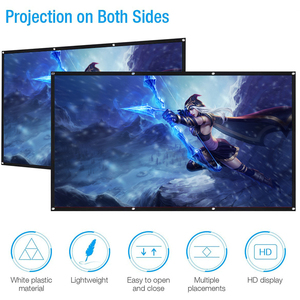 Portable 3d HD Projector Screen 60 / 72 / 84 / 100 / 120 / 150 Inch For LED DLP Projector Home Beamer Enhance Brightness Home